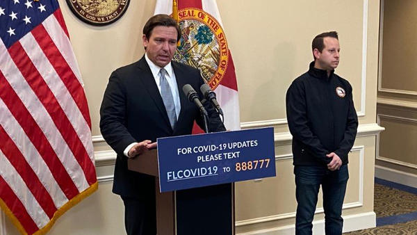 """""""It's not going to be something that a switch is going to be flipped,"""" Gov. Ron DeSantis said. ome order that ends Thursday."""