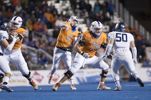 Boise State University's Ezra Cleveland (76) was selected by the Minnesota Vikings during the second round of the NFL Draft on Friday.