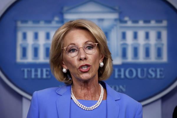 "Education Secretary Betsy DeVos says there is ""no reason"" to waive main parts of the federal special education law."