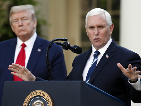 """Vice President Pence joined President Trump on Monday to announce a federal """"blueprint"""" to help states ramp up their testing of the virus."""
