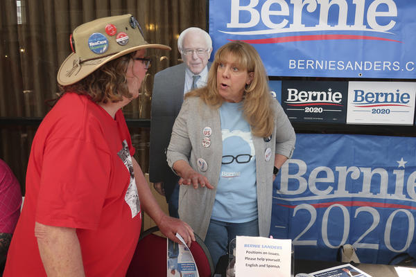 Ron Rose, left, of Topeka, and Judy Johnson of Olathe at the Kansas Democratic Party convention in Topeka on March 7, 2020.