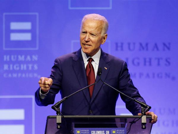 Democratic presidential candidate, former Vice President Joe Biden speaks during the Human Rights Campaign dinner at Ohio State University, Saturday, June 1, 2019, in Columbus.