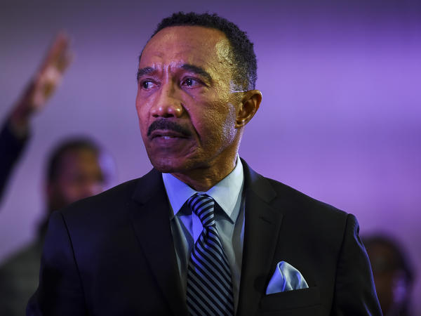 Former Rep. Kweisi Mfume won a special election in Maryland and will return to the congressional seat he last held in 1996. He is pictured here after speaking during a service at a church in Windsor Mill in December.