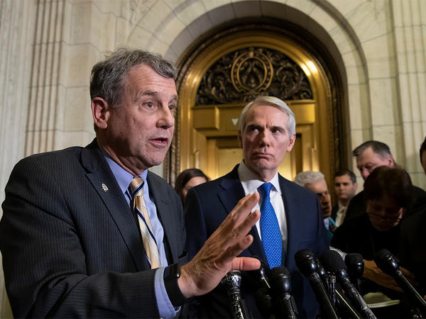 Sen. Sherrod Brown, D-Ohio, left, and Sen. Rob Portman, R-Ohio, speak to reporters on Capitol Hill in Washington, Wednesday, Dec. 5, 2018.
