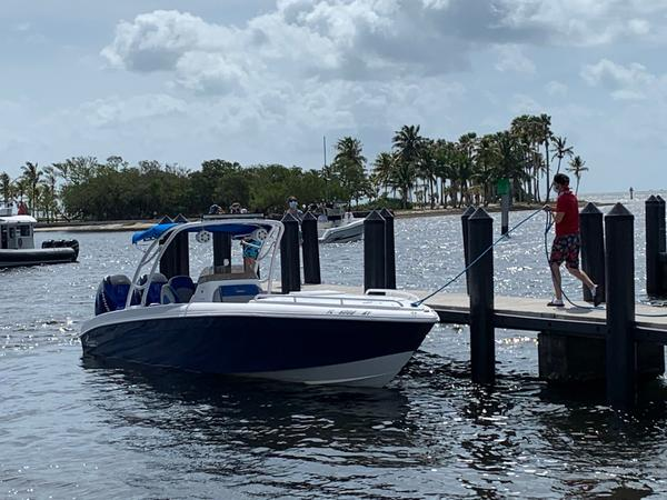 Police said about 40 boats had departed from the ramp at Matheson Hammock Park before noon Wednesday.