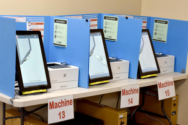 Ballot-marking devices are set up in a Paulding County polling place. Elections officials are taking new safety precautions for the June 9 primary because of the coronavirus..