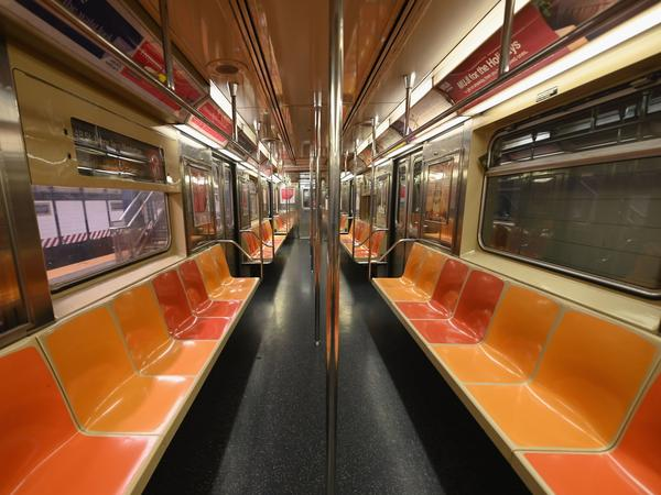 An empty New York Subway car is seen on March 23, 2020 in New York City. The city will soon be halting subway service each night to disinfect for the coronavirus.