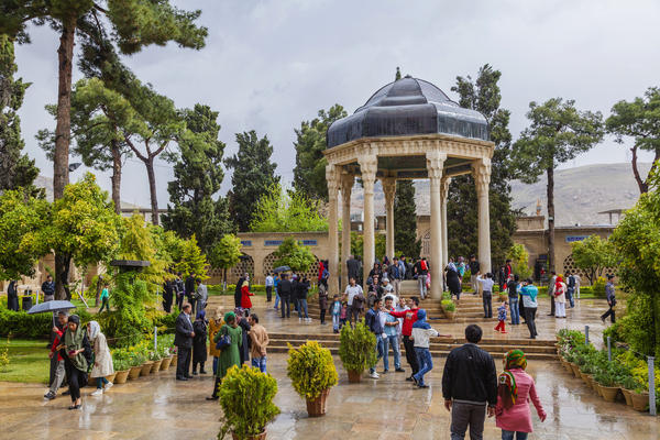The power of the verses by 14th century Persian poet Hafez draws tourists to his tomb in Shiraz.
