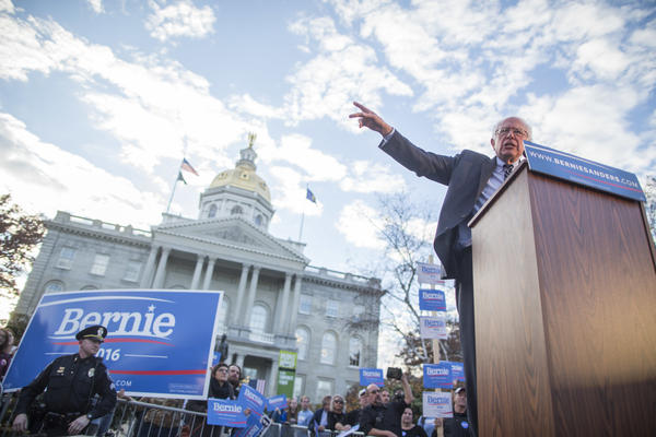 Sen. Bernie Sanders, I-Vt., leads a November 2015 rally in front of the New Hampshire State House in Concord. Sanders won that primary, but today some of his supporters in the early primary state are less enthusiastic about another presidential bid.