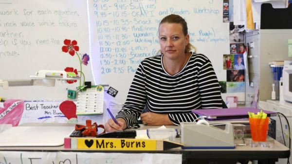 Heather Burns at Martin Elementary School in South San Francisco, where she now teaches third grade. Burns was diagnosed with breast cancer in 2016 and had to pay for her own substitute while on sick leave.