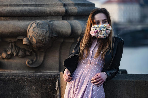 A do-it-yourself mask culture is springing up in the Czech Republic. This woman was photographed on the Charles Bridge in Prague on March 28.