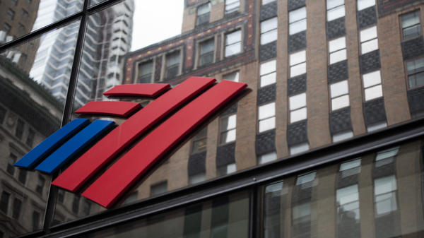 A Bank of America sign is displayed at a branch in New York on April 10, 2020.