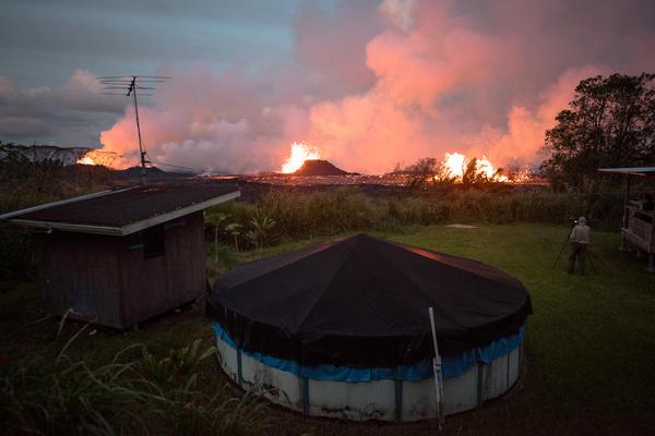Lava spewed from Kilauea's East Rift Zone in Pahoa, Hawaii, amid eruptions from the Kilauea volcano in May 2018.