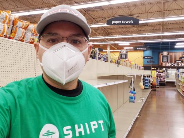 Willy Solis, who delivers groceries for the app Shipt in Denton, Texas, says the coronavirus pandemic has elevated the voices of workers like him, who are risking their lives to do essential jobs.