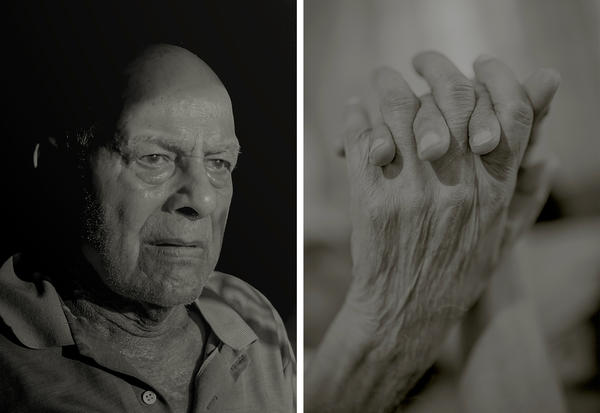 Left: Photographer Neha Hirve's grandfather, Shriram, in the blistering morning sun. Right: Hirve's grandparents hold hands as they take their afternoon nap.