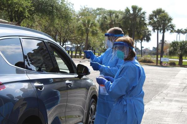 Manatee County is conducting their second drive-thru testing site at the Bradenton Convention Center through Friday.
