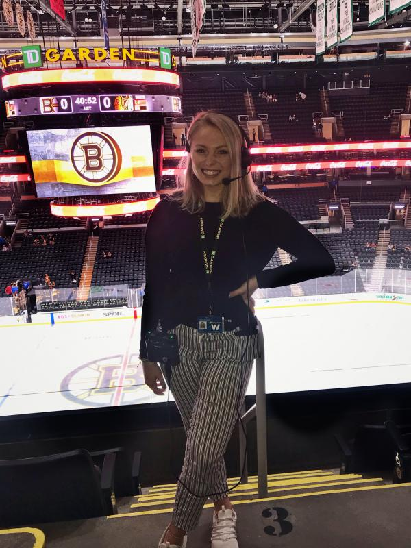 "Allie Clancy, an aspiring TV producer, had to cut short her dream internship at Boston's TD Garden arena. ""I'm trying to get used to the idea that I might not get a job in my field for a little while."