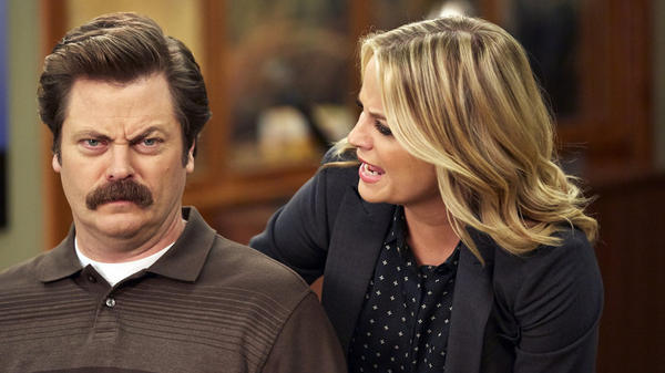 Nick Offerman and Amy Poehler would never breathe on each other like this (an earlier moment in the series) in the new <em>Parks and Recreation </em>special, but at least they can talk on video.