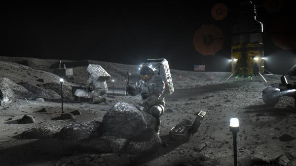 This illustration made available by NASA in April 2020 depicts Artemis astronauts on the Moon. On Thursday, NASA announced the three companies that will develop, build and fly lunar landers, with the goal of returning astronauts to the moon by 2024.