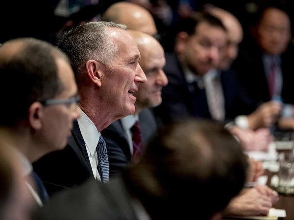 Gilead Sciences CEO Daniel O'Day speaks at a meeting with President Trump and members of the White House coronavirus task force on March 2.