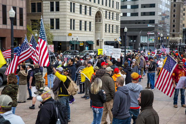 Protesters gather at the Ohio Statehouse to criticize the DeWine administration's coronavirus response on April 18, 2020.