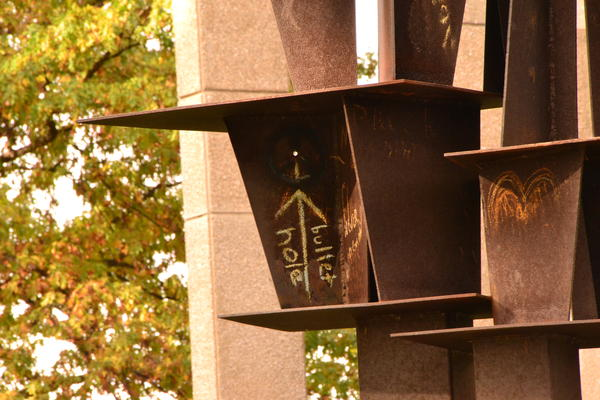 The sculpture Solar Totem Number 1 by Don Drumm stands on the Kent State campus.