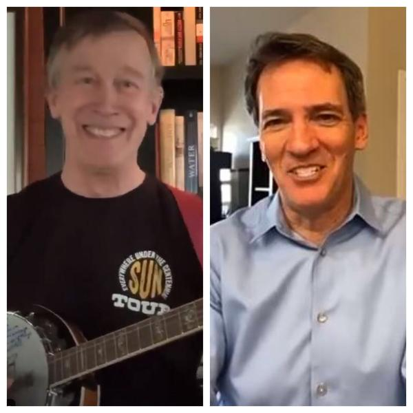 Former Gov. John Hickenlooper (left) and former House Speaker Andrew Romanoff have been campaigning digitally during the coronavirus pandemic.