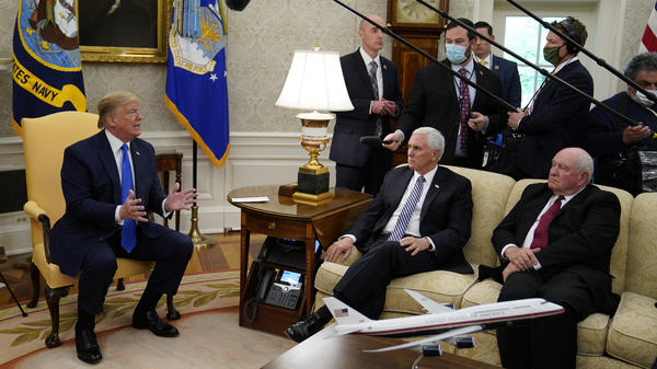 President Trump speaks in the Oval Office Wednesday.