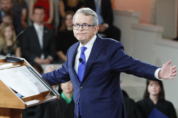 Gov. Mike DeWine speaks during a public inauguration ceremony at the Ohio Statehouse, Monday, Jan. 14, 2019, in Columbus, Ohio.