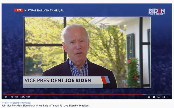 Former Vice President Joe Biden held a 'virtual' campaign rally Thursday, billed as being from Tampa.