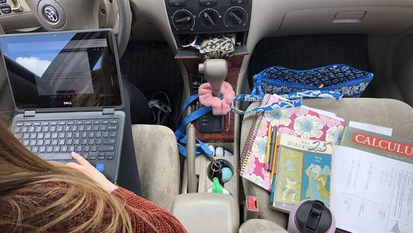 High school senior Natalie Szewczyk has turned her Toyota Corolla into a mobile workstation.