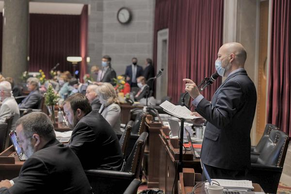 House Budget Chair Cody Smith, R-Neosho, answers questions as House takes up budget bills for fiscal year 2021.