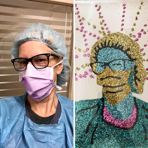 """When sharing the masked selfie sent to him by an essential healthcare worker side-by-side with the glittery portrait he created, Dylan Mortimer wrote, """"I feel like these are war portraits right now."""""""