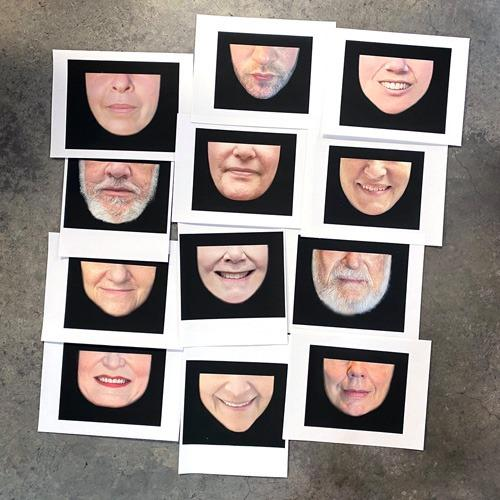Because of social distancing requirements, Feinstein can't take the photographs of mask customers herself; she works with selfies they submit.