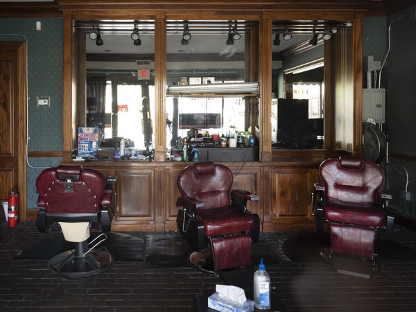 Next Level 2 Finesse Cutz barber shop is closed due to the coronavirus pandemic on May 7, in Hartford, Conn.