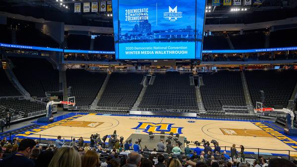 A mostly-empty Fiserv Forum is seen during a Democratic National Convention media tour in January. The Milwaukee arena may not fill up like a traditional political convention if public health guidelines prohibit large gatherings when the DNC takes place in August.
