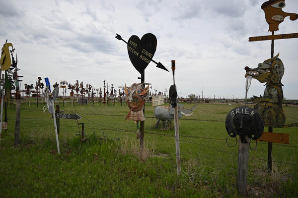 M.T. Liggett's collection of metal sculptures lines U.S. 400 along the edge of his property, just west of Mullinville.