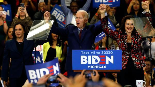 California Sen. Kamala Harris, left, and Michigan Gov. Gretchen Whitmer are two potential running mates for presumptive Democratic presidential nominee Joe Biden, a former vice president himself.