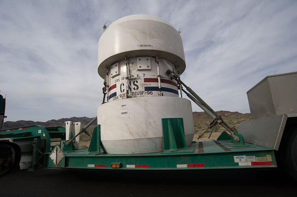 A nuclear waste container in transit from a Nevada test site in 2010.
