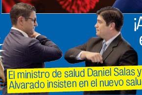 Costa Rican President Carlos Alvarado (right) and his health minister, Dr. Daniel Salas, demonstrating a protective elbow greeting during the coronavirus pandemic.
