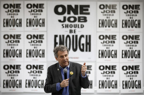 U.S. Sen. Sherrod Brown, D-Ohio, speaks at a Culinary Union hall Saturday, Feb. 23, 2019, in Las Vegas.