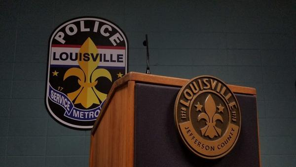 Briefing room inside the Louisville Metro Police Department.