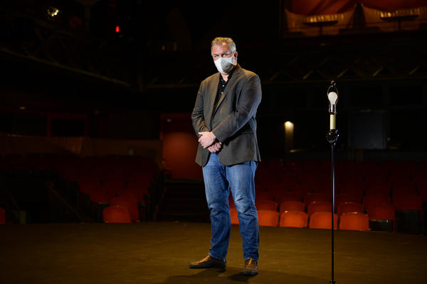 Kranzberg Arts Foundation executive director Chris Hansen stands on the stage of the Grandel Theatre, one of the Kranzberg Arts Foundation venues.