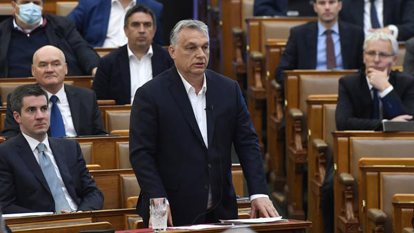 Hungarian Prime Minister Viktor Orban, shown here in Hungary's parliament in March, has been criticized for legislation that allows him to govern by decree for the duration of the COVID-19 pandemic.