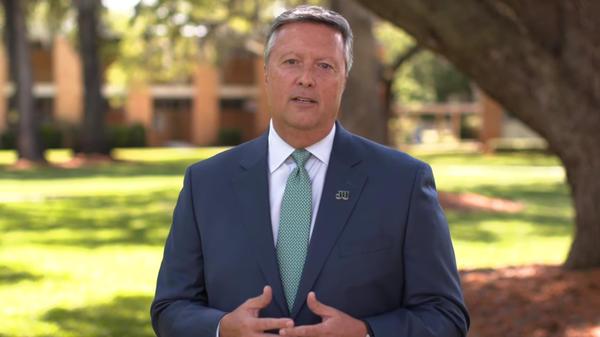 Jacksonville University President Tim Cost announces plans for the fall semester.