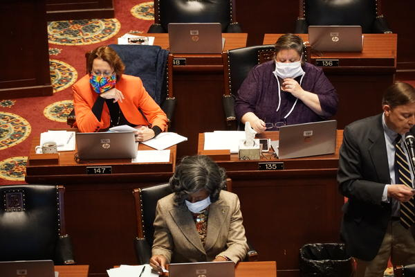 Democratic members of the Missouri House listen to debate on May 13, 2020. The House sent a measure changing the state legislative redistricting process to voters.