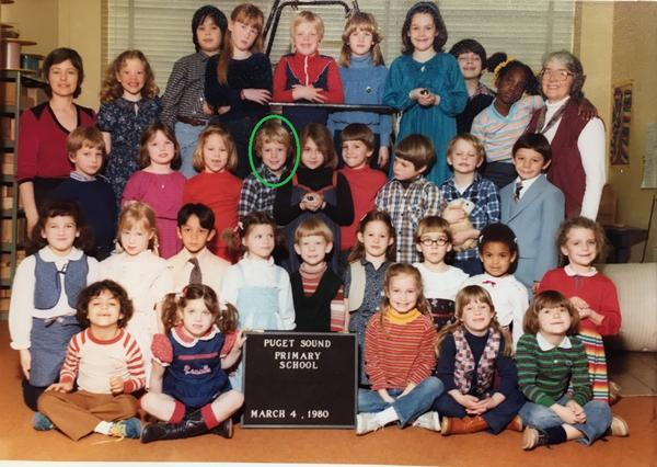 Reporter Austin Jenkins, in green circle, was part of a Puget Sound Primary School trip to Camp Cispus in May 1980. Austin and his classmates were evacuated from the camp after Mount St. Helens erupted.