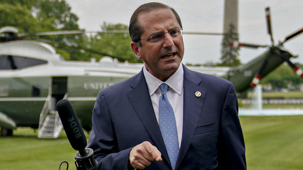 """In an apparent reference to China, Health and Human Services Secretary Alex Azar says a member state of the World Health Organization """"made a mockery of their transparency obligations, with tremendous costs for the entire world."""" Azar is seen here last week."""