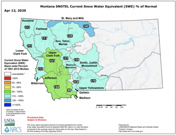 A graphic showing April snowpack from the Montana Department of Natural Resources and Conservation's spring 2020 water supply outlook.