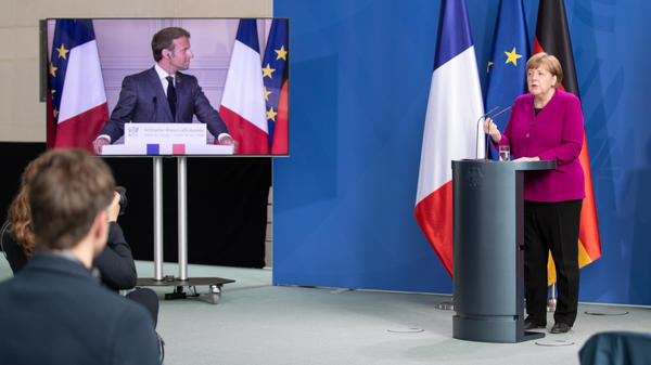 German Chancellor Angela Merkel and French President Emmanuel Macron hold a joint video news conference on Monday to propose a European Union coronavirus recovery fund of 500 billion euros.